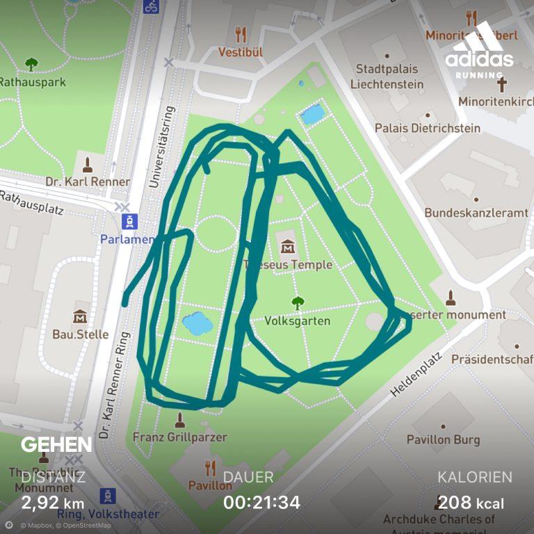Karte meines ersten Laufs mit Runtastic