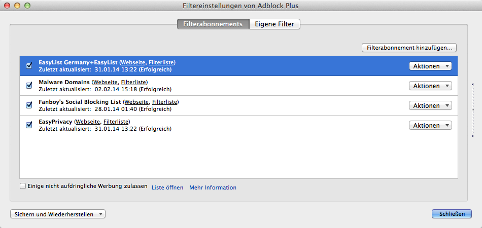 adblockplus-filterabonnements