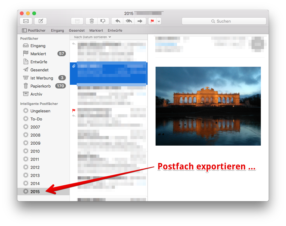 Apple Mail: E-Mail-Archiv exportieren