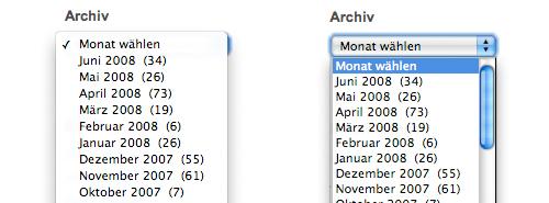 Auswahlfelder in Safari und Firefox auf dem Mac