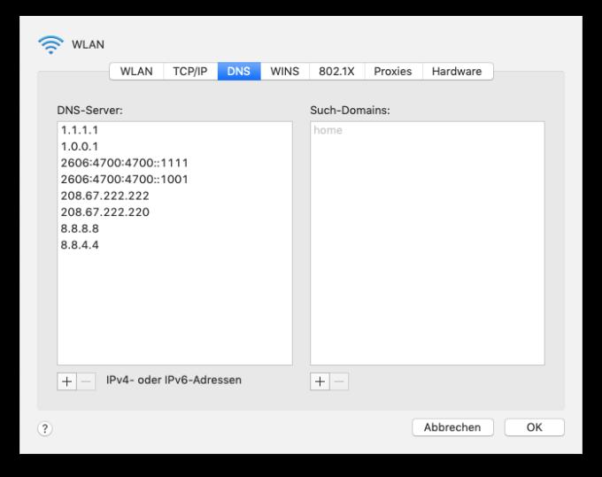 DNS-Konfiguration unter macOS Mojave: Cloudflare DNS, Open DNS und Google DNS