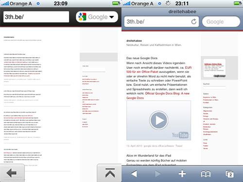 dreitehabee im Vergleich auf Opera Mini und Safari Mobile