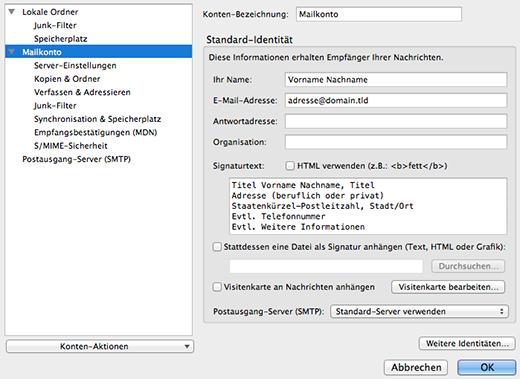 Konfiguration E-Mailprogramm: Signatur