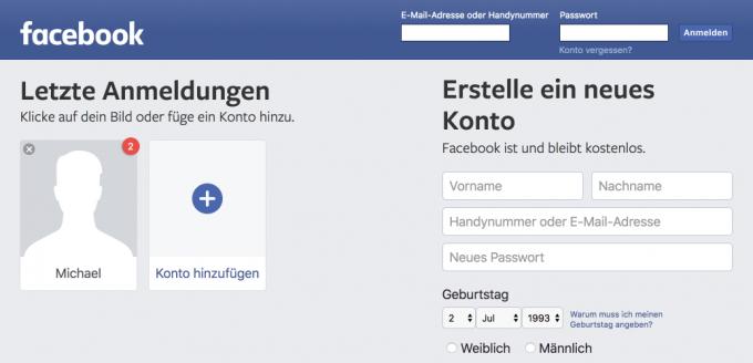 Screenshot der einer Abmeldung folgenden Seite: Fake-Benachrichtigung inklusive