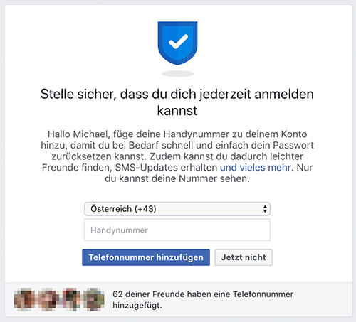 Screenshot Facebook: Telefonnummer