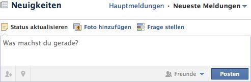 Eingabefeld auf Facebook