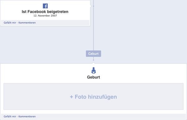 Facebook Timeline Geburt