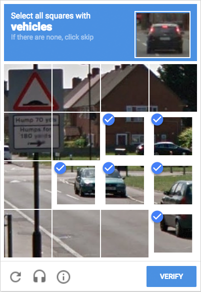 Google Captcha: Ich habe soeben Googles KI geholfen, Fahrzeuge zu erkennen.