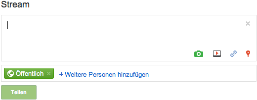 Eingabefeld auf Google+