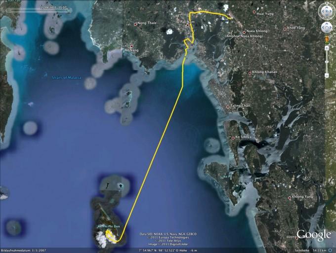 GPS-Track: Fähre von Krabi nach Ko Phi Phi