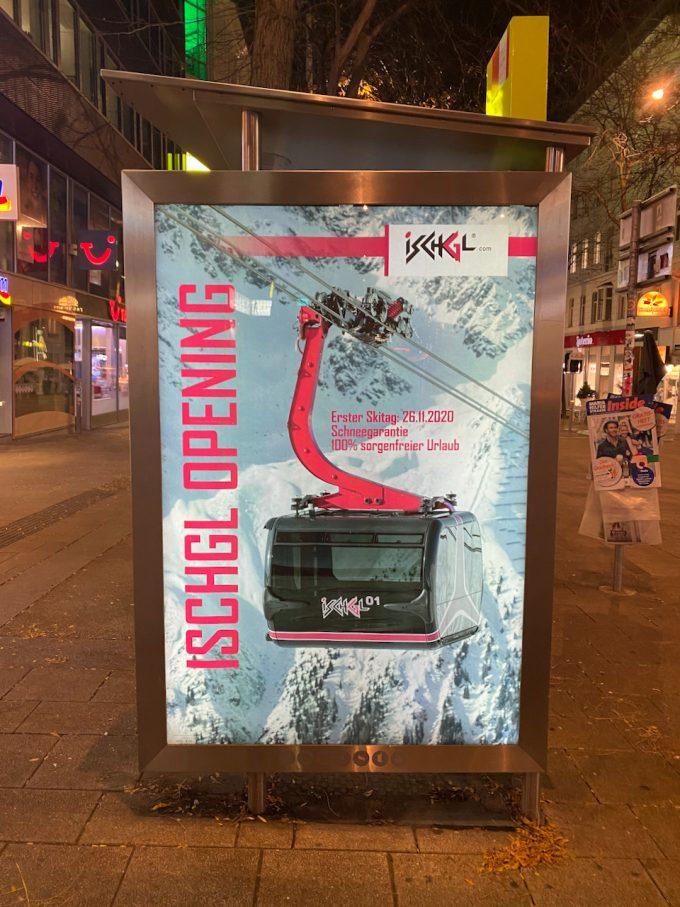 Ischgl-Plakat auf der Mariahilfer Straße in Wien