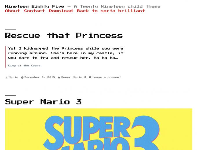Screenshot Nineteen Eighty Five Child-Theme