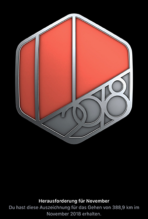 Screenshot: Virtueller Badge November Challenge 2018