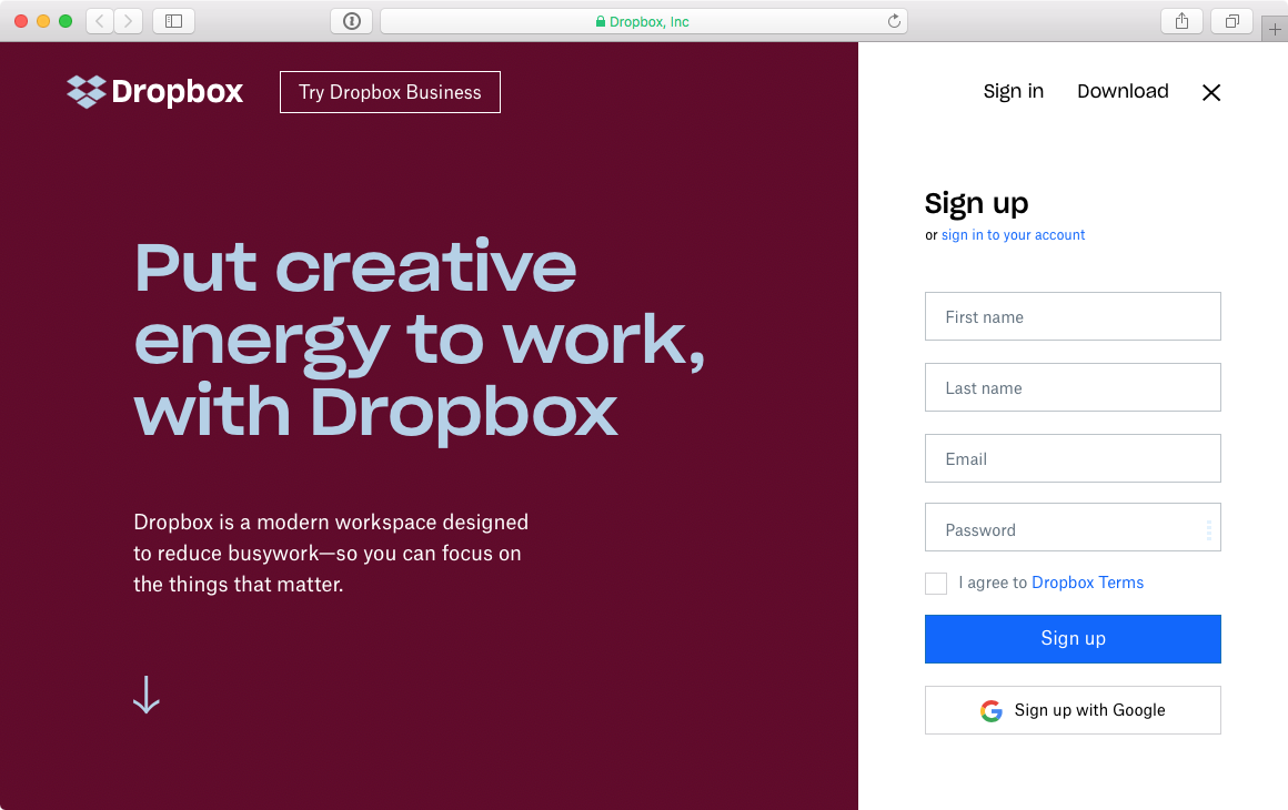 Screenshot Dropbox-Website