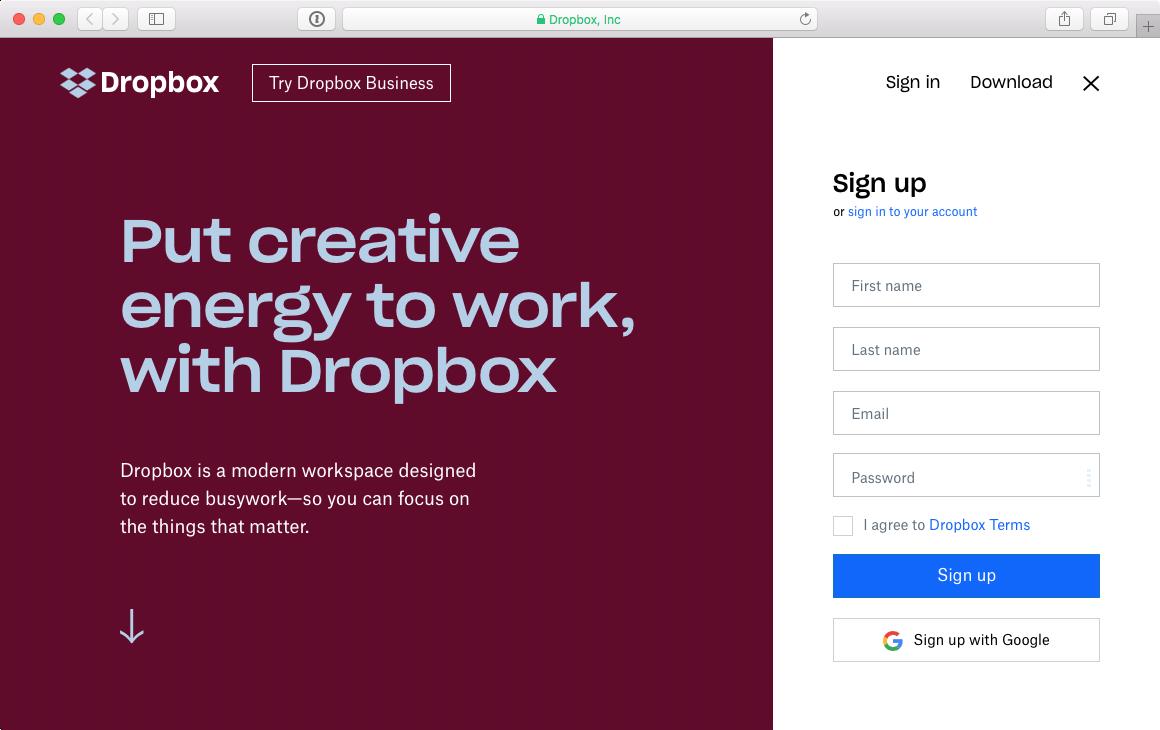 Screenshot Dropbox-Website