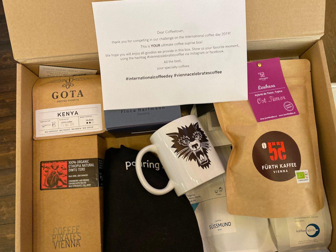 Überraschungsbox zum Tag des Kaffees