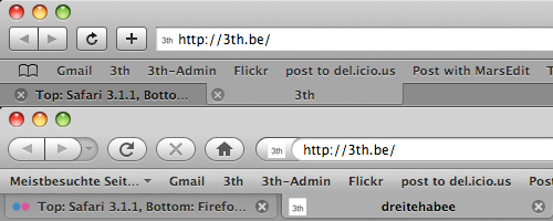 Toolbar in Safari und Firefox