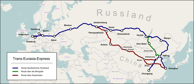 Routen des Trans-Eurasia-Express.