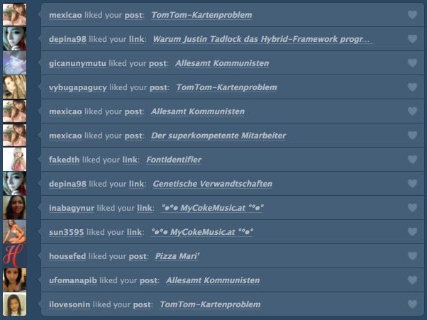 Spam-Konten auf Tumblr