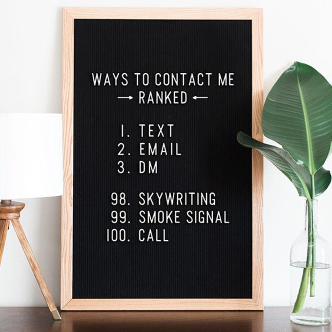 Präferierte Kommunikationswege gereiht: Nachrichten, E-Mails, DMs. Ganz am Schluss dann das Telefonat.